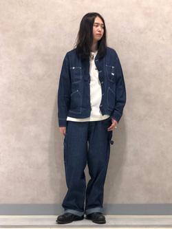 Lee 名古屋店のTakayaさんのLeeの【ユニセックス】ワンポイントロゴ刺繍 半袖Tシャツを使ったコーディネート