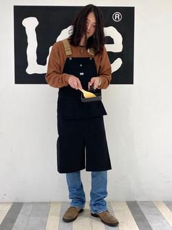 Lee 名古屋店のTakayaさんのLeeの【ユニセックス】オーバーオール エプロンを使ったコーディネート
