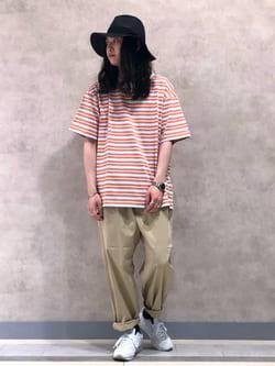 Lee 名古屋店のTakayaさんのLeeの【SALE】マルチボーダー 半袖Tシャツを使ったコーディネート
