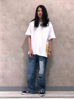 Lee 名古屋店のTakayaさんのLeeの【ユニセックス】DUNGAREES ペインターパンツ リメイクを使ったコーディネート