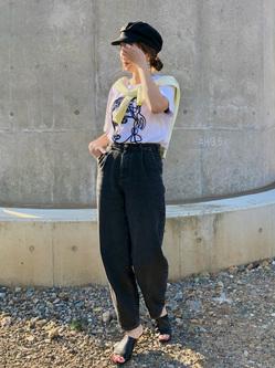 LINKS UMEDA店のhiroさんのSOMETHINGの終了【ガレージセール】【WDOT×SOMETHING 島袋聖南コラボモデル】TUCK TAPEREDを使ったコーディネート