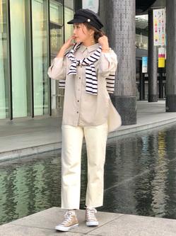 LINKS UMEDA店のhiroさんのEDWINの【直営店限定】【子供から大人まで着られる】ボートネック バスクシャツ(ボーダー)【110-180cm】を使ったコーディネート