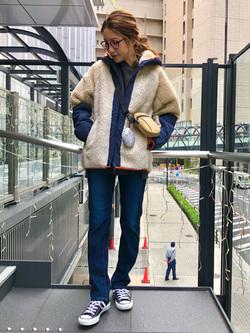LINKS UMEDA店のhiroさんのEDWINのF.L.E ボア フリースジャケットを使ったコーディネート