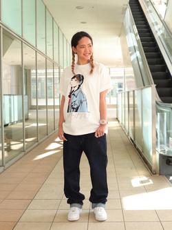 DENIM GALAXY日暮里店のChihiro.さんのEDWINの【限定】ジーパン女子×江口寿史 Tシャツ Boyfriend style1 【ユニセックス】を使ったコーディネート