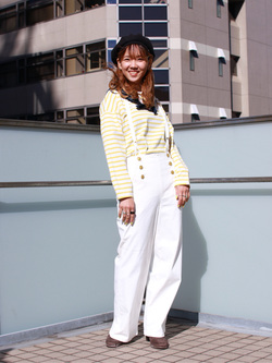 DENIM GALAXY日暮里店のChihiro.さんのSOMETHINGの【GISELe 3月号掲載】SOMETHING 2WAY マリンリボンサロペットを使ったコーディネート