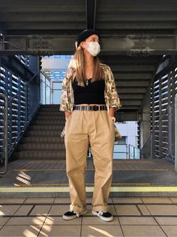 DENIM GALAXY日暮里店のChihiro.さんのEDWINの505 チノ ワイドストレートを使ったコーディネート