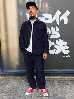 MINAMIHORIE店のカワノショウタさんのEDWINの【コンセプトショップ限定】INDIGO GARMENTS HUNTING  PANTSを使ったコーディネート