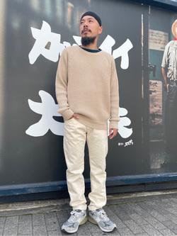 MINAMIHORIE店のカワノショウタさんのEDWINの【コンセプトショップ限定】CREWNECK KNITを使ったコーディネート