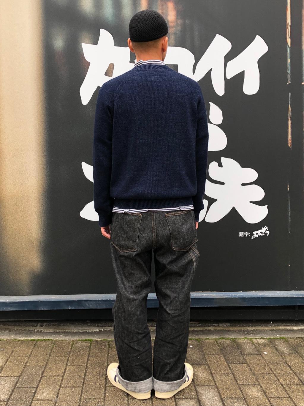 MINAMIHORIE店のカワノショウタさんのEDWINの【コンセプトショップ限定】INDIGO GARMENTS CREWNECK KNITを使ったコーディネート
