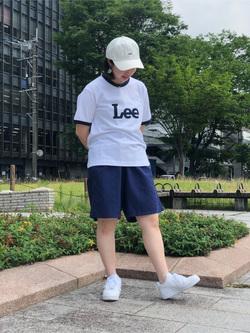 Lee アミュプラザ博多店のたまちゃんさんのLeeの終了【再値下げ!サマーセール】70s ロゴリンガーTシャツ 半袖を使ったコーディネート