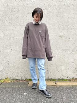 Lee アミュプラザ博多店のたまちゃんさんのLeeのワンポイントロゴ刺繍ポケット付きTシャツ/長袖を使ったコーディネート
