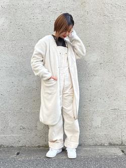 Lee アミュプラザ博多店のたまちゃんさんのLeeの【再値下げ Winter sale】【ユニセックス】【やわらかフリース】ノーカラーコートを使ったコーディネート