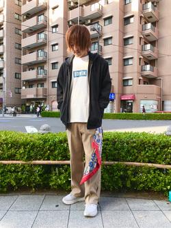日暮里駅前店のKeisukeさんのEDWINの終了【10%OFFクーポン対象】【サマーセール】EDWIN BOXロゴ Tシャツ 半袖 (デニム)を使ったコーディネート