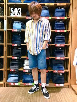 日暮里駅前店のKeisukeさんのEDWINの【再値下げSALE】デニムハーフパンツを使ったコーディネート