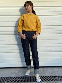 TOKYO HARAJUKU店のFemale StaffさんのEDWINの【コンセプトショップ限定】FOOTBALL TEEを使ったコーディネート