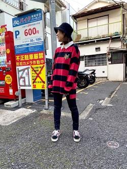 TOKYO HARAJUKU店のFemale StaffさんのEDWINの【コンセプトショップ限定】EDWIN×ZOO YORK LONG SLEEVE RUGBY SHIRTSを使ったコーディネート