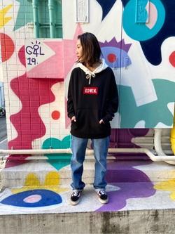 TOKYO HARAJUKU店のFemale StaffさんのEDWINの【コンセプトショップ限定】EDWIN×ZOO YORK LONG SLEEVE HOODIEを使ったコーディネート