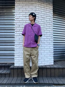 原宿店のYoshitakaさんのLeeの【シークレットセーール!!】オープンカラーシャツ 半袖(POPLIN WASHER)を使ったコーディネート