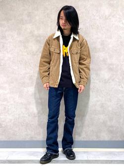 Lee 名古屋店のFuuyaさんのLeeの【ガレージセール】Pipes ルーズシルエット ロングTシャツ/プリントを使ったコーディネート