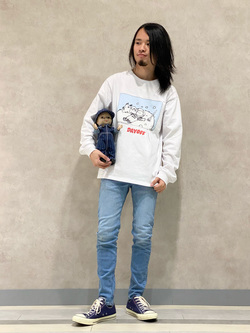Lee 名古屋店のFuuyaさんのLeeの【超快適ストレッチ】すっきり細身スキニーパンツを使ったコーディネート