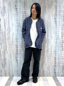 Lee 名古屋店のFuuyaさんのLeeの【ユニセツクス】【やわらかフリース】ノーカラージャケットを使ったコーディネート