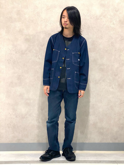 Lee 名古屋店のFuuyaさんのLeeの【着回し力抜群】ノーカラー デニムジャケットを使ったコーディネート