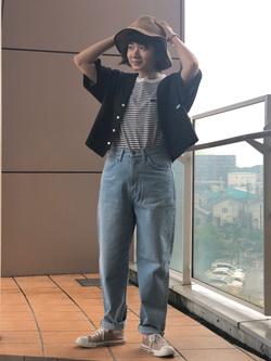 ららぽーと横浜のAyanaさんのLeeの終了【サマーセール】ルーズフィットシャツ 半袖を使ったコーディネート