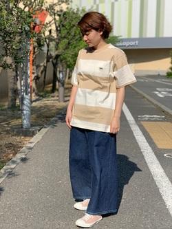 ららぽーと横浜のAyanaさんのLeeの終了【サマーセール】【男女兼用】ボーダーTシャツ 半袖を使ったコーディネート