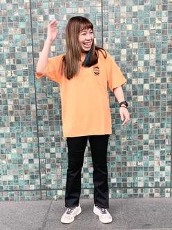 LINKS UMEDA店のR!さんのEDWINの終了【サマーセール】EDWINクラシックロゴ Tシャツ 半袖 (革ラベル)を使ったコーディネート
