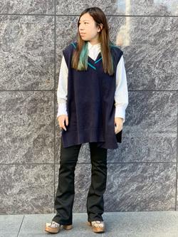 LINKS UMEDA店のR!さんのEDWINのEDWIN LADIES ハタラクロ ブーツカットを使ったコーディネート