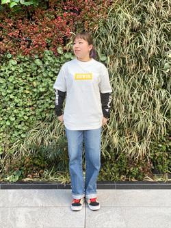 LINKS UMEDA店のR!さんのEDWINの【シークレットセーール!!】EDWIN LADIES 505 ワイドパンツを使ったコーディネート