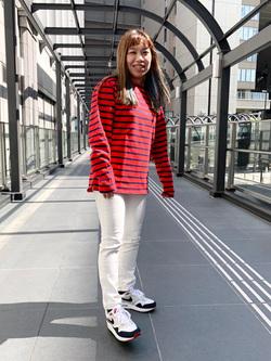 LINKS UMEDA店のR!さんのEDWINの【直営店限定】【子供から大人まで着られる】ボートネック バスクシャツ(ボーダー)【110-180cm】を使ったコーディネート