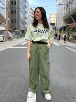 ALPHA SHOP渋谷店のmoe さんのALPHAのビッグシルエット タイダイプリントTシャツを使ったコーディネート
