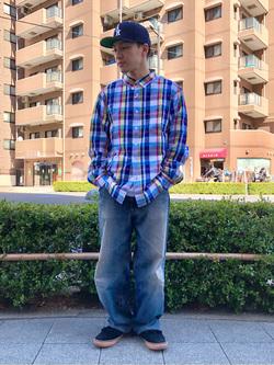 日暮里駅前店のシュンイチさんのEDWINのマドラスチェックシャツ 長袖を使ったコーディネート