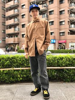 日暮里駅前店のシュンイチさんのEDWINのワイドカラーチェックシャツ 長袖を使ったコーディネート