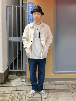 日暮里駅前店のシュンイチさんのEDWINのデニムポケット クルーネック 半袖Tシャツを使ったコーディネート