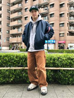 日暮里駅前店のシュンイチさんのALPHAのL-2B フライトナイロンジャケットを使ったコーディネート