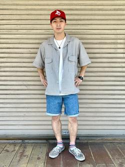 日暮里駅前店のシュンイチさんのEDWINの歩クール イージー8ポケット 半袖シャツを使ったコーディネート