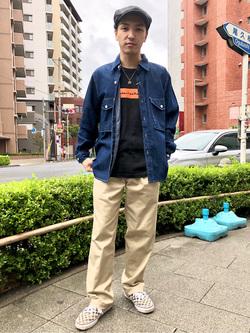 日暮里駅前店のシュンイチさんのEDWINのミリタリーデニムシャツ 長袖(US NAVY CPO SHIRTSタイプ)を使ったコーディネート