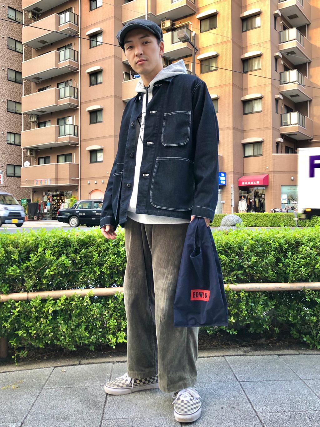 日暮里駅前店のシュンイチさんのEDWINのF.L.E スタンダード ロゴプリント パーカーを使ったコーディネート