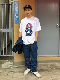 日暮里駅前店のシュンイチさんのEDWINのEDWIN x 鎌田かまを アーティストコラボTシャツを使ったコーディネート