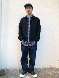 日暮里駅前店のシュンイチさんのEDWINの【サマーセール】大人のふだん着 ボタンダウンシャツ 長袖(チェック)を使ったコーディネート