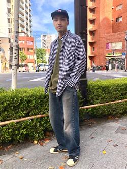 日暮里駅前店のシュンイチさんのEDWINの【直営店限定】ワークシャツ 長袖(ギンガムチェック)を使ったコーディネート