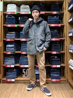 日暮里駅前店のシュンイチさんのEDWINの【期間限定10%OFF】F.L.E スマートフードジャケットを使ったコーディネート