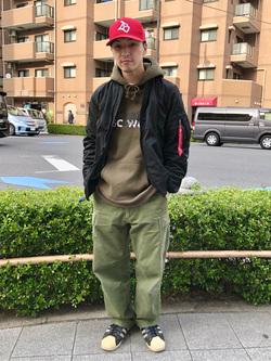 日暮里駅前店のシュンイチさんのALPHAのL-2B ボンディングジャケットを使ったコーディネート
