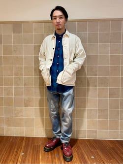 日暮里駅前店のシュンイチさんのEDWINの【直営店限定商品】デニム カバーオールジャケットを使ったコーディネート