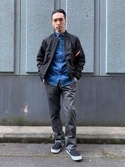 日暮里駅前店のシュンイチさんのALPHAの【期間限定10%OFF】L-2B ボンディングジャケットを使ったコーディネート