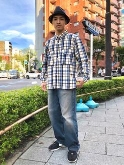 日暮里駅前店のシュンイチさんのEDWINのミリタリーチェックネルシャツ 長袖(US NAVY CPO SHIRTSタイプ)を使ったコーディネート