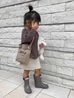本部のinada mizukiさんのEDWINの【脱ぎはきしやすいリブ付き】キッズ リブスカート【110-130cm】を使ったコーディネート