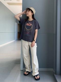 Lee アミュプラザ博多店のRenaさんのLeeのペインター ワイドデニムパンツを使ったコーディネート